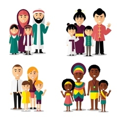 African asian arab and european families vector image vector image