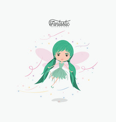 girly fairy fantastic character flying with wings vector image vector image