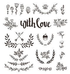 Set isolated hand drawn design elements with vector image vector image