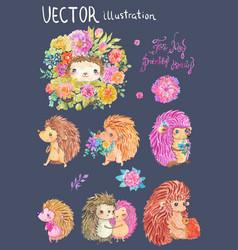 watercolor hedgehog vector image