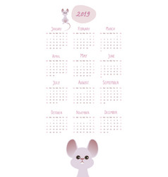 2019 cartoon style childish calendar mouse and vector image
