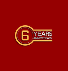 6 years anniversary golden and silver color vector
