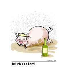 A series of postcards with a piglet proverbs and vector