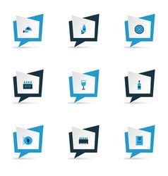 alcohol icons colored set with burger menu scotch vector image