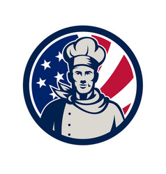 american baker chef usa flag icon vector image