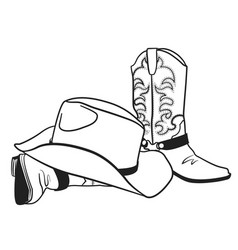 American cowboy boots and hat graphic vector