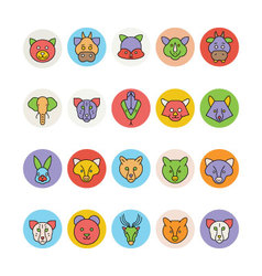 Animals Face Avatar Icons 3 vector image