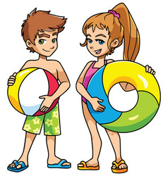 beach kids with accessories vector image