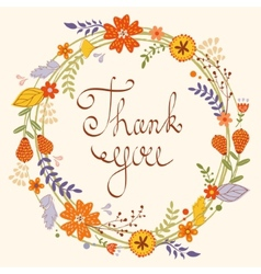 Beautiful thank you card vector image