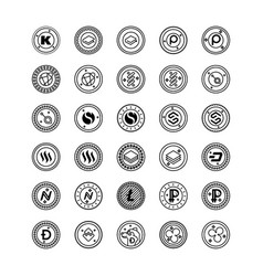 Bitcoin and cryptocurrency line icons pack vector