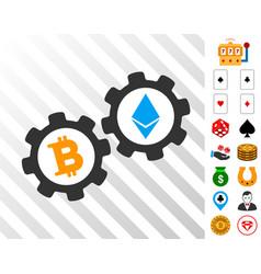 Bitcoin gears icon with bonus vector