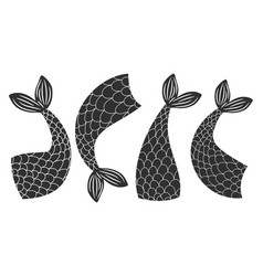black and white fishes mermaids tails vector image