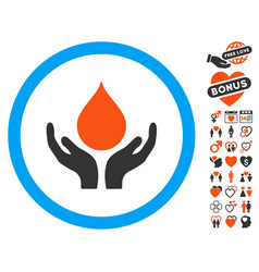 Blood donation hands icon with valentine bonus vector