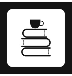 Books and cup of tea icon simple style vector image