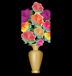 bouquet of roses in vivid colors golden vase on vector image