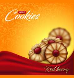 buttery cookies with red berry jam on floral vector image vector image
