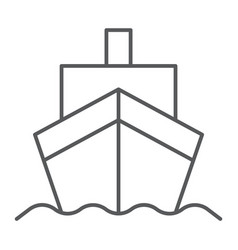 cargo ship thin line icon transportation and vector image