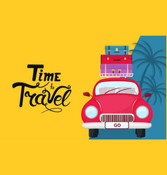 cartoon car with suitcases on the roof time to vector image