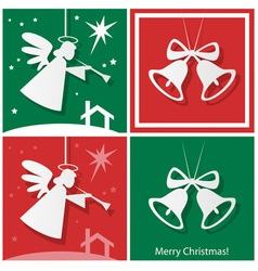 Christmas bells with angel and star vector image