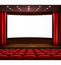 Cinema with white screen curtain and seats vector image