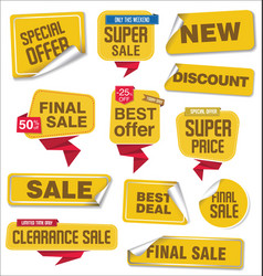 collection yellow sale stickers and tags vector image