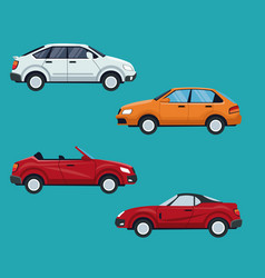 color background of set with modern car vehicle vector image