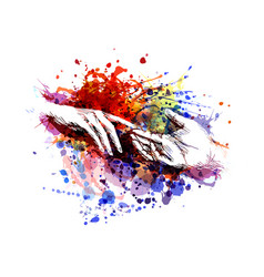 color of touching hands vector image