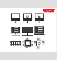 Computer series icon set network connection vector