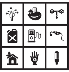 Concept flat icons in black and white ecological vector