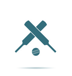 crossed cricket bats ball icon isolated on backgr vector image