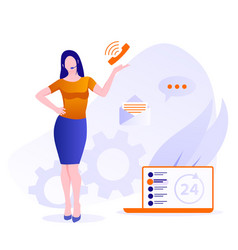 customer support concept female hotline operator vector image