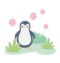 cute little penguin flowers grass cartoon animal vector image