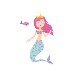 cute mermaid with pink hair color and gold crown vector image