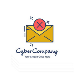 Cyber company email logo with white background vector
