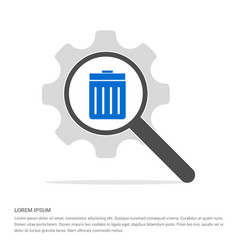 Delete icon search glass with gear symbol icon vector