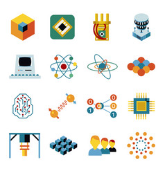 digital quantum computing icon set vector image