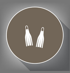 diving flippers sign white icon on brown vector image