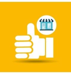 E-commerce store building hand like design vector