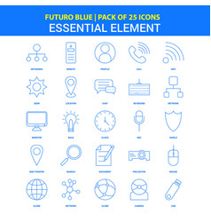 Essential element icons - futuro blue 25 icon pack vector