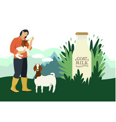 farmer and goats flat countryside vector image