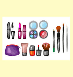 Fashion female makeup design glamour brush vector