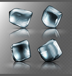 Four pieces of transparent ice high detailed vector