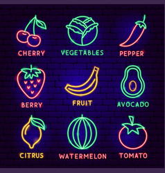 fruit vegetable neon label set vector image