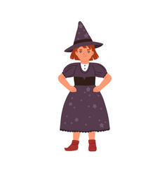funny little girl in witch costume flat vector image