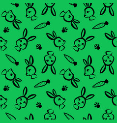 funny rabbit seamless pattern in brush outline vector image
