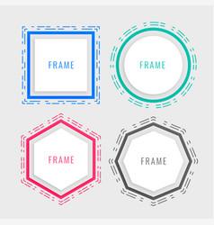 geometric memphis style frame design vector image