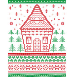 Gingerbread house christmas scandinavian pattern vector