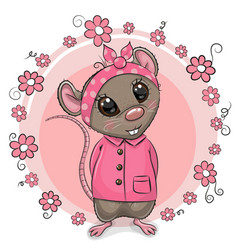 greeting card cute cartoon rat with flowers vector image