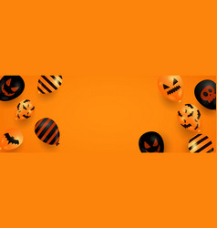 halloween banner with ghost balloons on orange vector image