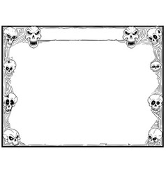 Halloween frame with skulls vector